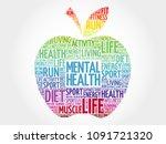 mental health apple word cloud  ... | Shutterstock . vector #1091721320