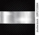 silver metallic banner on black ... | Shutterstock .eps vector #1091722004