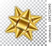 gold bow ribbon 3d decor... | Shutterstock .eps vector #1091722490