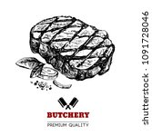 hand drawn sketch meat product. ... | Shutterstock .eps vector #1091728046