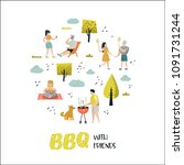 character people on bbq party.... | Shutterstock .eps vector #1091731244