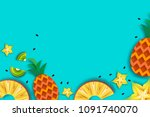 pineappple  carambola  kiwi.... | Shutterstock .eps vector #1091740070