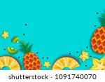 pineappple  carambola  kiwi.... | Shutterstock .eps vector #1091740070