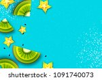 slice of kiwi and carambola.... | Shutterstock .eps vector #1091740073