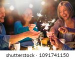 one summer evening  friends in... | Shutterstock . vector #1091741150