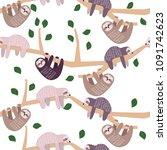 Cute Sloth Climbing Tree...