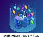 isometric developing... | Shutterstock . vector #1091744639