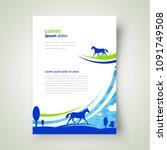 flyer horse grassland theme... | Shutterstock .eps vector #1091749508