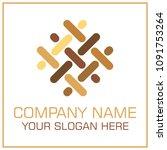 flat style vector logo parquet  ... | Shutterstock .eps vector #1091753264