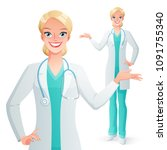 beautiful smiling doctor woman... | Shutterstock .eps vector #1091755340