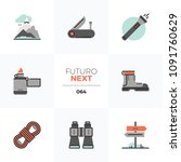 modern flat icons set of hiking ... | Shutterstock .eps vector #1091760629
