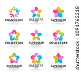 vector star logo and logotype... | Shutterstock .eps vector #1091763218