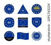 european union flag  emblem and ... | Shutterstock .eps vector #1091763224