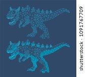 polygonal dinosaur   vector... | Shutterstock .eps vector #1091767709