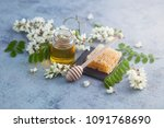 jar of acacia honey with a... | Shutterstock . vector #1091768690