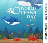 illustration world oceans day   ... | Shutterstock .eps vector #1091782010
