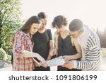traveling  sightseeing  group... | Shutterstock . vector #1091806199