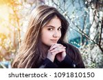 girl with perfect skin on a... | Shutterstock . vector #1091810150