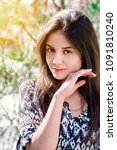 girl with perfect skin on a... | Shutterstock . vector #1091810240