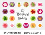 set of jungle circle stickers... | Shutterstock .eps vector #1091821046