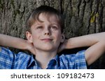 happy boy has a rest in the... | Shutterstock . vector #109182473