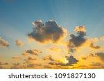 beautiful natural sky of sunset   Shutterstock . vector #1091827130