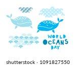 worl oceans day .  cute  vector ...   Shutterstock .eps vector #1091827550