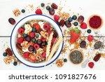 home made healthy breakfast... | Shutterstock . vector #1091827676