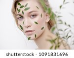 beautiful young woman with... | Shutterstock . vector #1091831696
