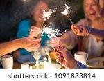 one summer evening  friends in... | Shutterstock . vector #1091833814