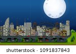 a big city under the moonlight...   Shutterstock .eps vector #1091837843