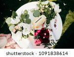 wedding table setting with... | Shutterstock . vector #1091838614