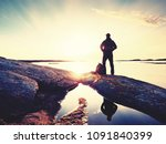 silhouette of man standing on a ... | Shutterstock . vector #1091840399