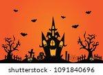happy halloween pumpkins  bats  ... | Shutterstock .eps vector #1091840696