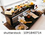 different kind of cheese on... | Shutterstock . vector #1091840714