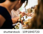 different kind of cheese on... | Shutterstock . vector #1091840720