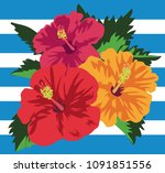 vector illustration of tropical ... | Shutterstock .eps vector #1091851556