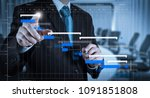 project manager working and... | Shutterstock . vector #1091851808