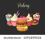 set of sweet bakery. vector... | Shutterstock .eps vector #1091859026