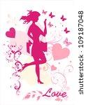 dreamy girl  vector silhouette | Shutterstock .eps vector #109187048