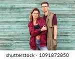 fashion couple in their glasses ... | Shutterstock . vector #1091872850