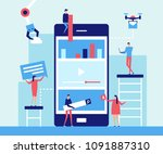 mobile app development   flat... | Shutterstock .eps vector #1091887310
