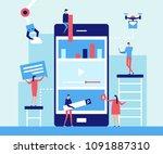 mobile app development   flat... | Shutterstock .eps vector #1091887310