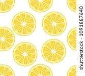 lemon seamless pattern. white... | Shutterstock .eps vector #1091887640