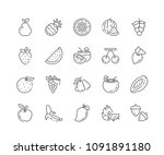 set of fruits outline icons...   Shutterstock .eps vector #1091891180