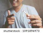 asian man be smile refusing... | Shutterstock . vector #1091896973