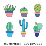 hand drawn set of succulent and ... | Shutterstock .eps vector #1091897336