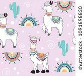 cute cartoon llama on a pink... | Shutterstock .eps vector #1091898830