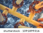 offshore drill yellow oil and... | Shutterstock . vector #1091899316