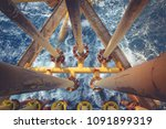 offshore drill yellow oil and... | Shutterstock . vector #1091899319